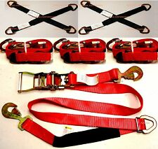 "4x Sets Car Hauler Trailer Auto Tie Down Ratchet Tow Kit w/ 36"" Axle Straps RED"
