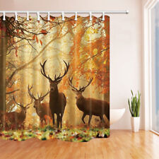 Deer In Autumn Forest Animal Waterproof Bathroom Fabric Shower Curtain &12 Hooks
