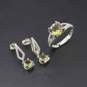 Color Change Diaspore Jewelry Sets S925 Silver Sultanit Ring Earrings for Womens