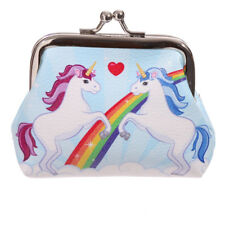 Rainbow Unicorns Mini Clip Purse Coin Purse Childrens Ladies Love Heart