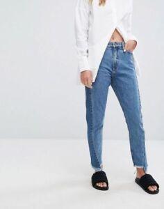 Brand New  Monki Women Ladies Kimomo two Tone blue Jeans All Sizes.