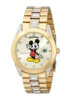 New Mens Elgin Disney Mickey Mouse MCK209 Day Date Gold Tone Bracelet Watch