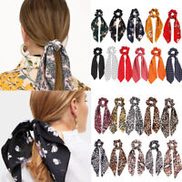 Leopard Snake Print Hair Scarf Elastic Rope Floral Dot Bow Ponytail Scrunchies