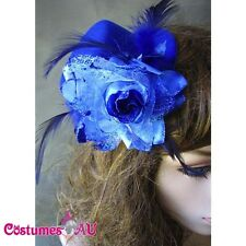 Blue Mini Top Hat with flower Burlesque Fascinator