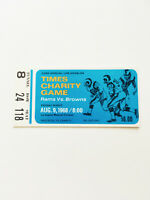 Rare Authentic 1968 Rams VS Browns Times Charity Games Football Game Ticket Stub