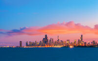 "CHICAGO SKYLINE EVENING SUNSET NEW A1 CANVAS PRINT POSTER FRAMED 33.1""x23.4"""