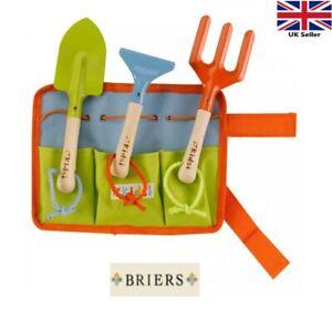 Children's Kids Gardening Tool Kit Set Belt Wooden Metal Rake Fork Trowel Briers