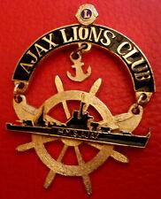 Large Vintage Lion's Club Pin HMS AJAX Leander Cruiser Ship Wheel Anchor WWII