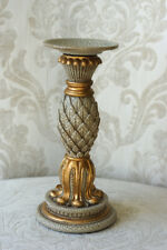 Metal and Resin Scroll Leaf Table Top Candle Holder, Antique Gold Crackle Finish
