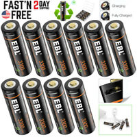 EBL USB Rechargeable AA Battery 1.5V 3300mwh Li-ion Lithium Batteries Lot +Cable