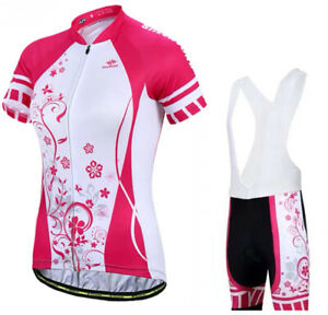 Ladies Cycling Jersey Set Trousers short Sleeve Seat Cushion Racer Bike