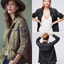 Denim Jean Women's Embroidered Embellished Military Shirt Jacket Outwear Coat