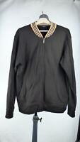 BURBERRY London Black Full Zip Track Jacket Retro Bomber Sweater Signature M
