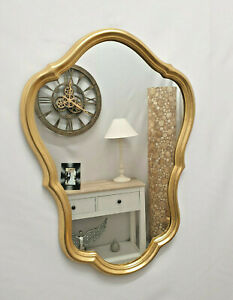Gold Leaf Curve Accent Vanity Bathroom Wall Mirror Decorative Frame 49x69cm