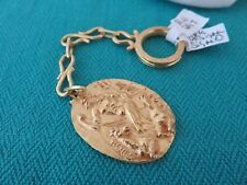18K SOLID GOLD SIGNED GREEK GOD NEPTUNE & HORSES KEY CHAIN RARE FIND