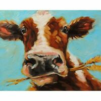 Cow Diamond Painting Portrait Cute Simple Design Mosaic Embroidery Wall Displays
