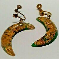 Vinage Gold Foil Confetti Lucite Moon Dangle Earrings Screw-Back Green Enamel