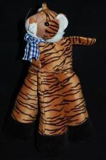 "Funny Feet Striped Tiger Brown Black Blue Gingham Bow Plush 12"" Stuffed Decor"