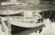 TWO WOMEN WITH DOG IN BOAT & ORIGINAL VINTAGE REAL PHOTO POSTCARD