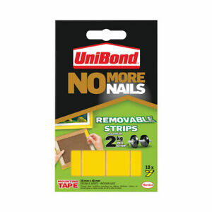 10 Unibond No More Nails Picture Hanging Strips Double Sided Mount Tape Adhesive