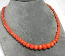 """14K Yellow Gold Graduated Red Coral Bead Necklace 25.5 grams 23"""" lot 29e9"""