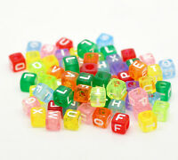 100 x 6mm Transparent Letter Beads, Loom Bands, Dummy Clips, Pony Beads