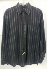 Beverly Hills Polo Club  Mens Black Button Front Long Sleeve  Shirt Size M   Y1