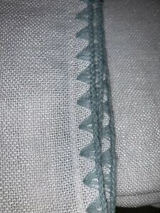 "1 -Threshold LAKE TAHOE (White w/ Green Stitched Edge) Curtain Panel 108"" NWOP"