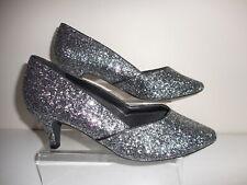 Silvery Glittery Kitten Heel Court Shoes Size UK 9 Wide EEE Fit BNIB From Evans