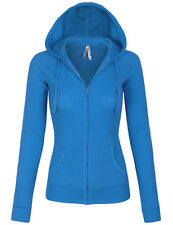 Women's Solid Casual Basic Thermal Zip Up Hoodie Long Sleeves Jackets S,M,L