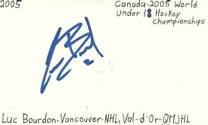 Luc Bourdon Vancouver NHL QMJHL Hockey Autographed Signed Index Card JSA COA