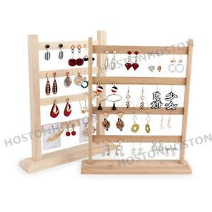 Four 4 Tiers 48/40 Holes Wooden Earring Stand Rack Organiser Hanger