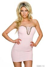 Sexy,baby pink,bandeau,open back mini dress with gold chain.Size 10