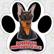 "Paw Print Shaped Doberman Pinschers Rule! Waterproof 5"" Car / Fridge Magnet New"