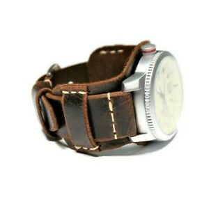 Leather Сuff Watch Band brown Bund strap Wrist cuff mens aviator, Military strap