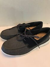 UGG AUSTRALIA IMPERIAL BLUE CANVAS SUEDE CATTON BOAT SHOES MEN SIZE 9 NEW