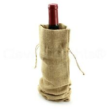 "14"" Burlap Wine Bags with Drawstring - 100% Natural Jute Burlap - 3 5 10 25"