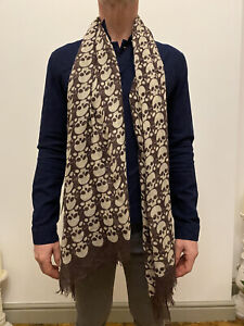 Alexander Mcqueen Purple And Cream Skull Scarf