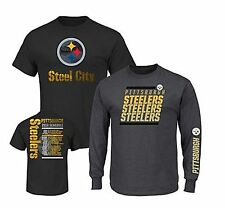 Pittsburgh Steelers NFL  3-in-1 Majestic 2-T-Shirt Combo Set 2XL/Black/Charcoal