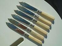 """Set 6 Antique Faux Bone Handle Silver Plate 8 ½"""" Butter Fish Knives James Deakin"""