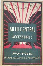 1925 ENVIRON AUTO CENTRAL ACCESSOIRES PARIS CATALOGUE MASCOTTE FEUX VOLANT PHARE