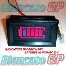 INDICATORE DI CARICA per batterie al piombo 12V LED ROSSO auto moto camper barca