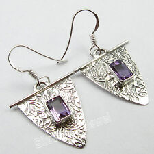 Hot New Design !! 925 Sterling Silver AMETHYST EXTRA ORDINARY Earrings 1.5""