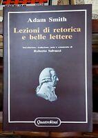 Lezioni di retorica e belle lettere - Adam Smith - Quattro venti, 1985