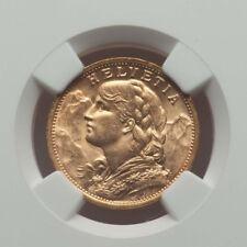 1908B 20 FRANCS GOLD COIN SWITZERLAND REPUBLIC NGC MS63