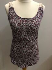 New Look Ladies Sleeveless Multi Top Size 10 Geometric Print Lace Back