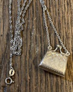 Purse Pocketbook Locket 925 Sterling Silver Pendant Necklace