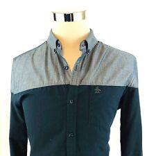 Original Penguin Chambray Color Block Long Sleeve Button Down Shirt Men Large