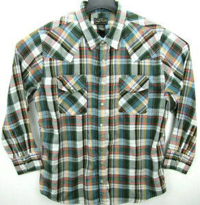 High Noon Men's Size XL Long Sleeve Pearl Snap Western Shirt Plaid