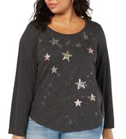 Style & Co Womens Top Gray Size 1X Plus Knit Sequin Star Printed $34 #031